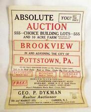 Vintage Auction Handbill Brookview Development Pottstown Pa Wilson State Streets