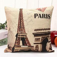 """Vintage France Paris Eiffel Tower Cushion Cover 18"""" Home Decorative Pillow Case"""