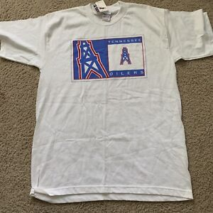 Vintage Tennessee Oilers T Shirt White Size L Houston Oilers Tennessee Titan NEW