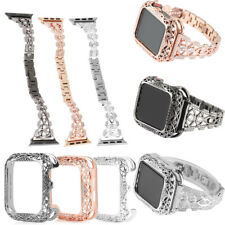 Diamond Stainless Steel Band Metal Case Set for Apple Watch Series 5 4 3 2 1 New