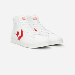 Converse Pro Leder Leather  Mid Weiß ROT 168131C  40 41 42 43 44 45