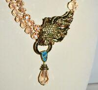 New $230 HEIDI DAUS Lion Roar Crystal Accent Necklace Golden Shadow