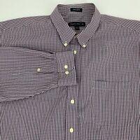 Joseph Feiss Mens Non Iron Button Down Shirt Size XXL Gingham Plaid Long Sleeve