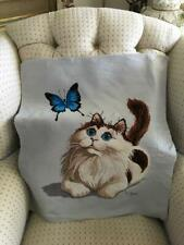 Vtg Completed Embroidery Cross Stitch Kitty Cat with Butterfly Finished Tapestry