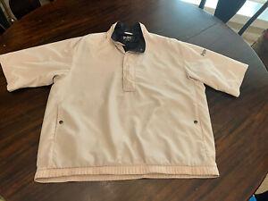 DryJoy by FootJoy Beige 1/2 Zip Pullover Wind Rain Shirt LARGE Polyurethane