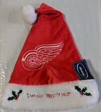 Detroit Red Wings Team Logo Holiday Plush Santa Hat NEW NHL Christmas Solid