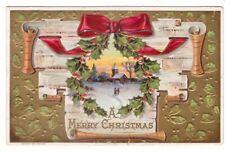 A Merry Christmas, Winter Rural Scene, Holly Wreath, Bow, Vintage 1910 Postcard