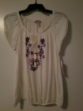 Arizona Jeans  Co. White short sleeve embroidered Blouses new with tags Size M