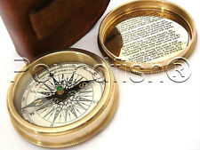 Robert Frost Poem Compass-SolidBrass Pocket Compass w Leather Case-Quality brass
