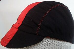 CYCLING CAP ONE SIZE COLOR BLACK STRAP RED   100% COTTON