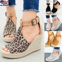 Womens Summer Platform Wedge Heels Sandals Ladies Peep Toe Buckle Shoes Size 6-9