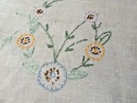 Antique Vintage Hand Embroidered White Linen Table Runner
