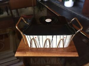 Vintage Kirkham Pottery Butter Dish With Wood and Brass Stand
