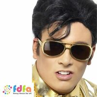 GOLD ELVIS PRESLEY SHADES SUNGLASSES - one size fits most - mens fancy dress