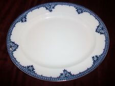 Burleigh Ware Rosette Large Oval Platter Blue and White Burgess & Leigh 13 3/4""
