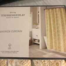 "Theshold Shower Curtain floral Golden Yellow Texture Cloth 72"" Cotton New"
