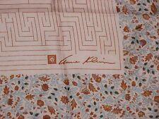 """Vintage Anne Klein Floral Silk Scarf Peachy Pink Brown Blue Lion Head Logo 26"""""""