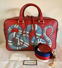 Gucci Rare Large King Snake Handbag Red Leather Print 2 Way Web Strap Tote Bag