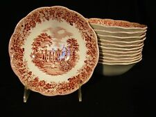 """Set 12 J & G Meakin Romantic England Pink Transfer Chequers Bowls 6 1/4"""" dia"""