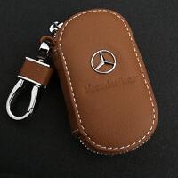 Brown Cowhide leather Car Key Holder Keychain Ring Case Bag For Mercedes-Benz