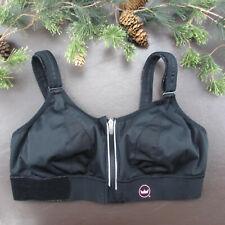 SHEFIT Sports Bra Size L Black Wireless Adjustable Zip Front