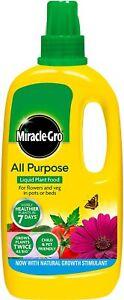 Miracle Grow Liquid Plant Food Indoor Concentrated Fertiliser Flower Bottle 1L