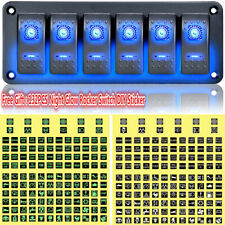 Car Marine Boat 6-Gang Waterproof Circuit Blue 2 LED Rocker Switch Panel