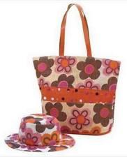 2PC Fun & Splashy Multi-Colored Retro-Style Floral Hat & Beach Tote Bag Set NIP