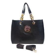 Beautiful Large Chain Tote Bag w/ Proya Emblem - Black, Beige
