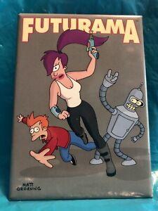 """FUTURAMA"" BENDER, FRY & LEELA FRIDGE MAGNET 2.5"" X 3.5"" 2000 FOX Matt Groening"