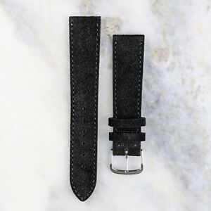 Suede Leather Watch Strap - Black - 18mm/20mm