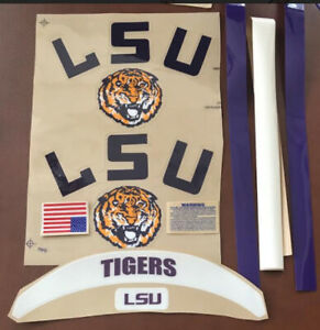 LSU Helmet Decals with Sides-Extras-Stripes and 2 Paw (Stickers)....20mil  3M