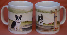 BOSTON TERRIER DOG MUG OFF TO THE DOG SHOW WATERCOLOUR PRINT SANDRA COEN ARTIST