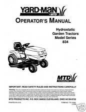 Yard-Man Lawn Tractor Operators Manual Model No. 834