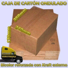 25 CAJAS CARTON KRAFT CANAL UNA ONDA BICOLOR B4 350X240X170 mm