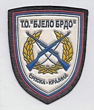 SERBIAN KRAJINA ARMY - TO BIJELO BRDO -  1991 Rubberized patch on felt ORIGINAL