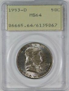 1953-D 50c Franklin Silver Half Dollar OGH PCGS MS64 **Old Green Rattler**