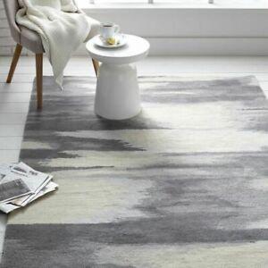Distressed Ikat Gray Handmade Contemporary Modern 100% Woolen Rugs & Carpet