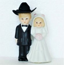 Porcelain Wedding Cake Topper Figurine Bride & Groom Western Cowboy