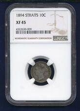STRAITS SETTLEMENTS VICTORIA 1894 10 CENTS SILVER COIN, CERTIFIED NGC XF-45