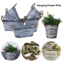 Vintage Zinc Plant Garden Flower Pot Holder Basket Wall Outdoor Indoor Decor