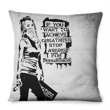 Banksy Stop Asking For Permission Pillow Cushion Pad Cover Case Bed Graffiti Art