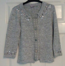 Per Una M&S Light Grey Quarter Sleeve Button Down Embellished Cardigan UK 10