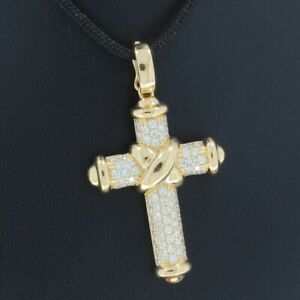 Wert 4060 € Brillant Kreuz Anhänger in 750er 18 K Gelbgold