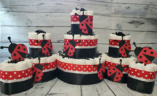3 Tier Diaper Cake and sets - Red and Black Lady Bug Theme Diaper Cake - Neutral