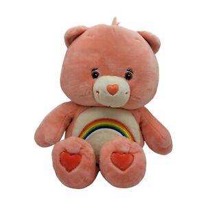 "Care Bears Cheer Bear 24"" Plush Toy Pink Rainbow 2002 Jumbo size"
