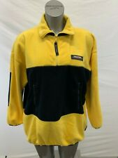Nautica Competition Vintage Fleece Pullover Men's Large Yellow Blue Long Sleeve