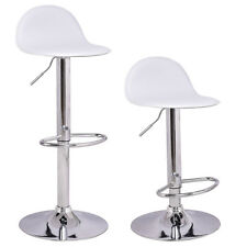 Set of 2 Swivel Bar Stools Modern Adjustable Height Diner Seat Chairs White