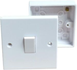 1, 2,  3,  Gang 2 Way Light Switches, Spur Switch With Back Box