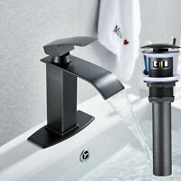 MYHB 360° Swivel Oil Rubbed Bronze Bathroom Vessel Sink Faucet with POP UP Drain